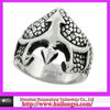Surgical Steel Biker Ring Trident on Scaly Background