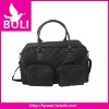 2012 zipper tote shoulder handbag new design black nylon duffel bag (BL53290TB-C)