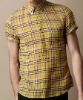 men yellow plaid shirt