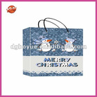 Supply light blue small floral snowman Xmas bag with your logo