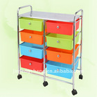 4 layers double drawers trolley with wheels