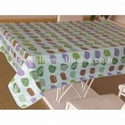 vinyl printed table cloth/PVC printed table cover/sewing edge tablecloth