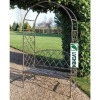 metal garden arch with bench