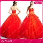 AZ0752 Beading Applique Ruffle Floor Length Red Quinceanera Dresses