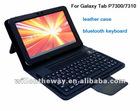 leather case bluetooth keyboard for Samsung galaxy tab P7300/7310