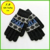 FB010601#2013 cold winter plaid styles 100%acrylic five fingers knitted glove hot selling