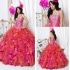 2013 newest hot sale strapless ball gown embroidery muticolor quinceanera dress