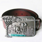Belt | Africa Elephant Animal Brown Genuine Leather Belt