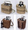 cooler basket,for wine bottle,wicker material,with carrying belt