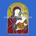 Enamel Colored Christian Religion Wall Plaque of The Virgin Mary Statue, Religious Crafts