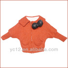 Stock: Bat-Wing Sleeve Solid Color Beautiful Girls Coats with Bow