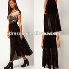 Hot Sale Cheap Skirt! Fashion Coated Pleat Maxi Skirt(SK2110)