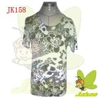 2012 New Hotsale prints of flowers and beading casual short sleeve for spring and summer Ladies Sweater JK158