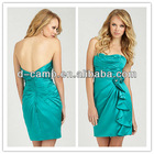 BD-096 Satin strapless knee length turquoise bridesmaid dresses ruched bodice