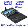 "black Leather case for 10"" tablet with USB keyboard"