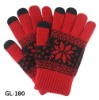 Snow flower knitted glove winter touch screen gloves wholesale winter gloves