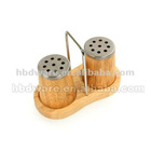 Rubber wood salt and pepper shaker set