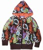 F3183#BROWN Fashion floral printed kids winter hoody
