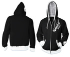OEM custom men cotton fleece long sleeve black printed design zip up bulk hooded varsity hoodie
