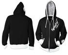 OEM custom men cotton fleece long sleeve black printed design zip up bulk hooded varsity hoodie