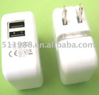 dual usb charger for Ipad with 2A output