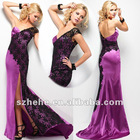 2012 Modest One Shoulder Purple Sexy Side Slit Prom Dress