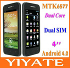 2Nice 4 inch (960x540) QHD Screen MTK6577 dual core Android 4.0 3G mobile cell phone dual sim WiFi Hotspot GPS BT FM etc.