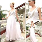 A-line One shoulder White Chiffon Evening dress