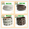 RC35 Hot 4 styles studded diamantes bangles leather bracelet
