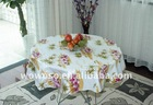 Round PVC table cloth with wave border