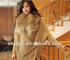 Gorgeous Individual Cutting Raccoon Collar Bat-wing Sleeve Coat Khaki HM12092605