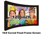 Lower price Big size 16:9 format 120 inch Curved Fixed frame screen/ fast fold matt white manual projection projector screen