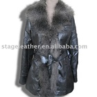 washed suedette women's coat with beautiful removeable fake fur collar