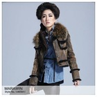 10809A1 Rabbit skin double face with raccoon dog collar fur short jacket