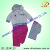 stripe print velour 3pcs suit set