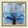 2012 hot sales denim shorts with lace on the waist