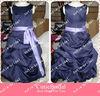 Custom Made Suzhou A Line Satin Zipper Bateau Sleeveless Ankle Length Flower Girl Dress Patterns