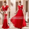 Coniefox V-Neck Lace Red Elegant Club Party dress With Back Closed 81256