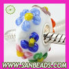 925 Silver Core Murano Glass Flower Beads Wholesale