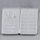 Canadian maple leaf 1 oz (.999) Fine Silver plated Bar, souvenir silver bullion