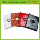 colored crocodile leather case for iPad with sleeping function