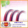 Red color bicycle tyre