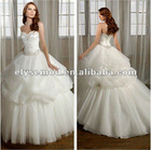 Hot Sale New Design Ball Gown Sweetheart White Tulle and Organza Discount Wedding Gowns