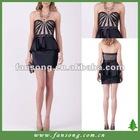 Elegant sweetheart neckline beaded black short evening dress