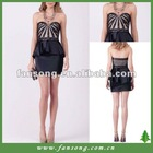 Elegant sweetheart neckline beaded black short evening dress