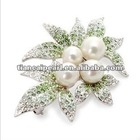 Free shipping!!!! ItalinaStyle brooch pectoral flower crystal green leaves brooch
