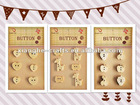 Novelty natural decorative shaped wooden buttons for embellishments