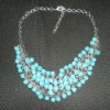 Diamond bib necklace turquoise