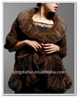 Fashion Mink Fur Knitted Ladies Shawl !!! Wavy-edge !!!