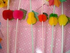 6 designs fruit shape cocktail decoration drinking straw